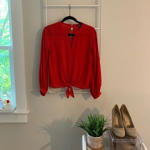 EXPRESS  |  front tie red blouse